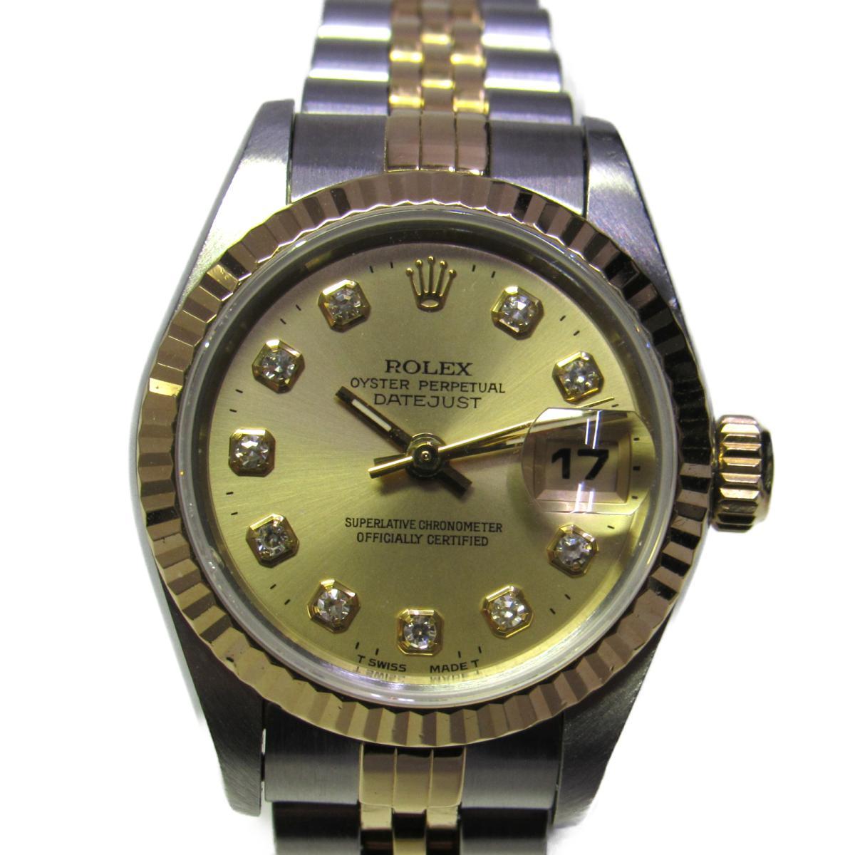 【中古】 ロレックス デイトジャスト 腕時計 ウォッチ レディース ステンレススチール (SS) x K18YGイエローゴールド ダイヤモンド シルバー (69173G) | ROLEX BRANDOFF ブランドオフ ブランド ブランド時計 ブランド腕時計 時計