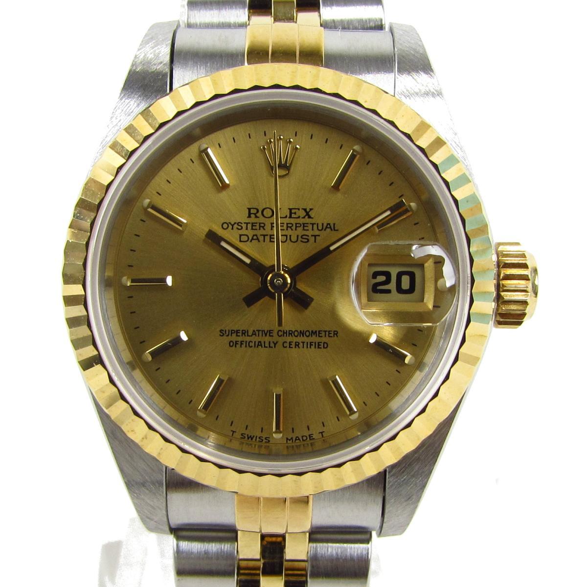 【中古】 ロレックス デイトジャスト ウォッチ 腕時計 レディース K18YG (750)イエローゴールド x ステンレススチール (SS) (69173 T番)   ROLEX BRANDOFF ブランドオフ ブランド ブランド時計 ブランド腕時計 時計