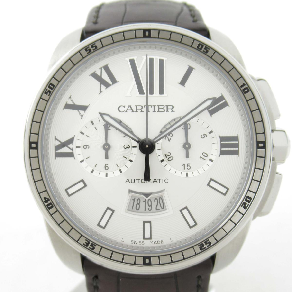 【中古】 カルティエ カリブル クロノグラフ ウォッチ 腕時計 メンズ ステンレススチール (SS) x レザーベルト (W7100046) | Cartier BRANDOFF ブランドオフ ブランド ブランド時計 ブランド腕時計 時計