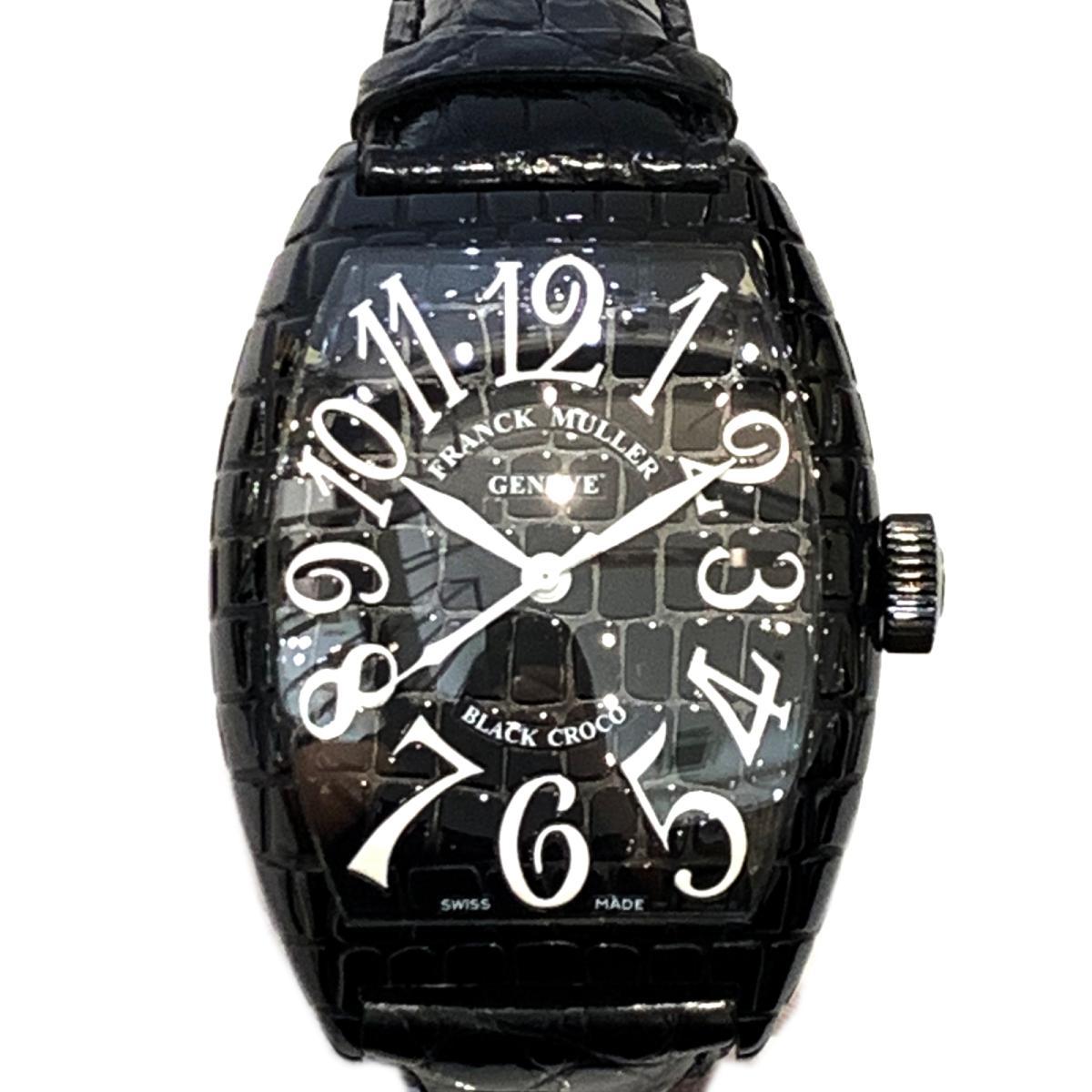 【中古】 フランク・ミュラー トノーカーベックス ブラッククロコ 腕時計 ウォッチ メンズ ステンレススチール (SS) x レザー ブラック (9880SCBLKCRO) | FRANCK MULLER BRANDOFF ブランドオフ ブランド ブランド時計 ブランド腕時計 時計