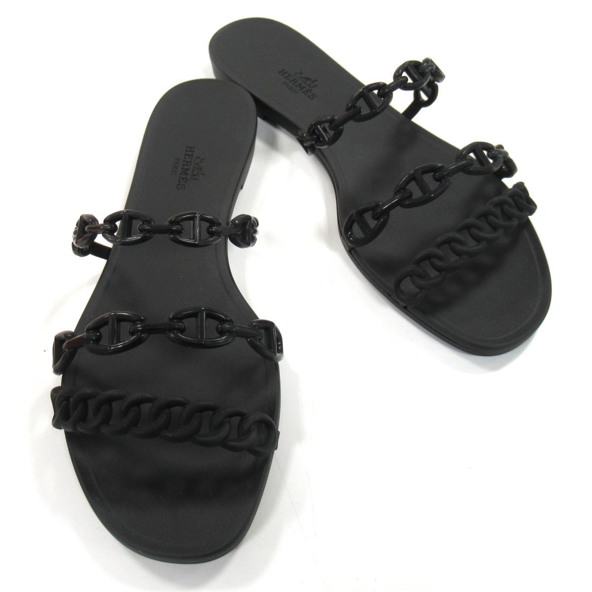 【中古】エルメス シェーヌダンクル サンダル 靴 レディース ラバー ブラック | HERMES BRANDOFF ブランドオフ ブランド シューズ クツ