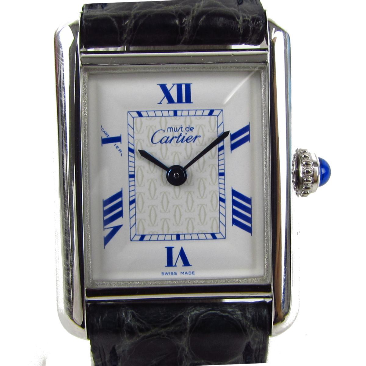 【中古】カルティエ マスト ウォッチ 腕時計 レディース 925 x メッキ クロコレザーベルト   Cartier BRANDOFF ブランドオフ ブランド ブランド時計 ブランド腕時計 時計