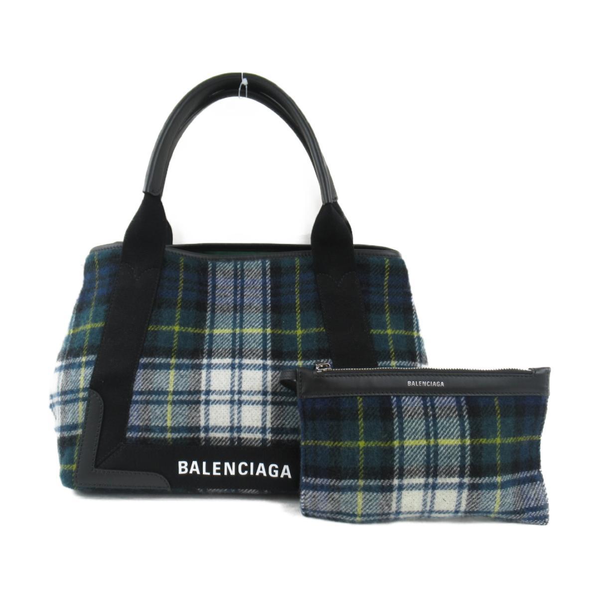 【中古】バレンシアガ ネイビーカバS トートバッグ メンズ レディース ウール x カーフスキン グリーン系マルチカラー (339933) | BALENCIAGA BRANDOFF ブランドオフ ブランドバッグ かばん バッグ バック ハンドバッグ