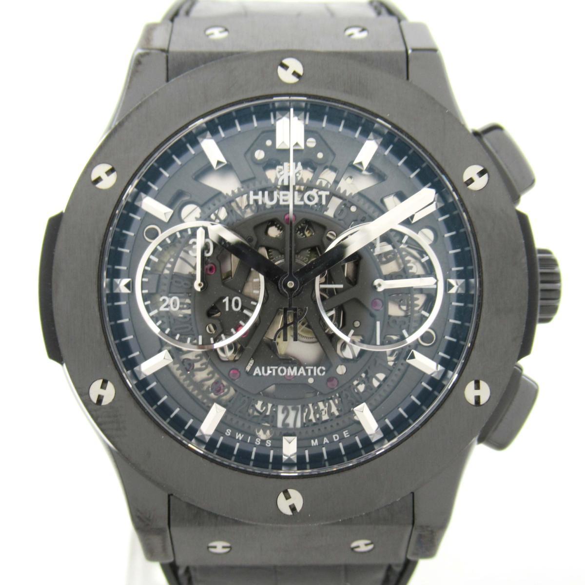 【中古】ウブロ アエロフュージョン ウォッチ 腕時計 メンズ ステンレススチール (SS) x セラミック レザーベルト (525.CM.0170.R ) | HUBLOT BRANDOFF ブランドオフ ブランド ブランド時計 ブランド腕時計 時計