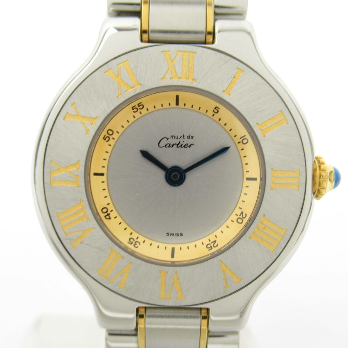【中古】カルティエ マスト21 ウォッチ 腕時計 レディース 18Kイエローゴールド x ステンレススチール (SS)   Cartier BRANDOFF ブランドオフ ブランド ブランド時計 ブランド腕時計 時計