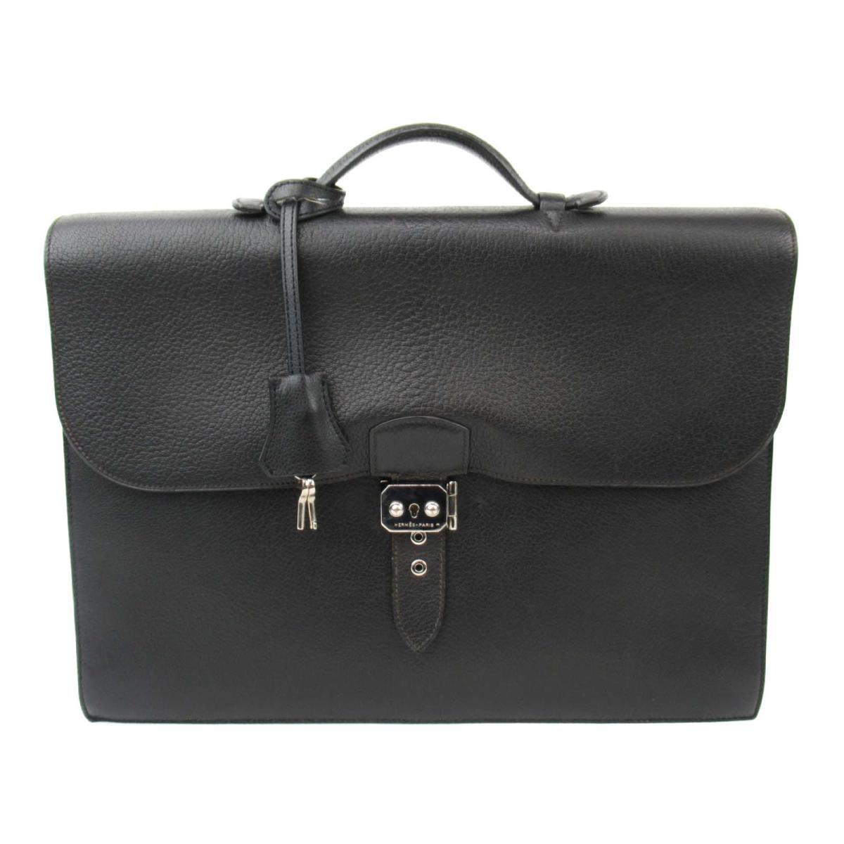【中古】エルメス サックアデペッシュ38 ビジネスバッグ ブリーフケース メンズ シェーブル ブラック (シルバー金具) | HERMES BRANDOFF ブランドオフ レディース ブランドバッグ かばん バッグ バック ハンドバッグ
