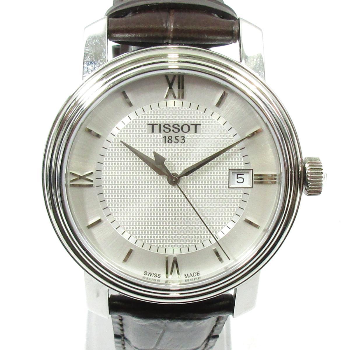 【中古】 ティソ T-CLASSTC BRIDGEPORT ウォッチ 腕時計 メンズ ステンレススチール'(SS) x レザー シルバー ブラウン (T097.410.16)   TISSOT BRANDOFF ブランドオフ ブランド ブランド時計 ブランド腕時計 時計