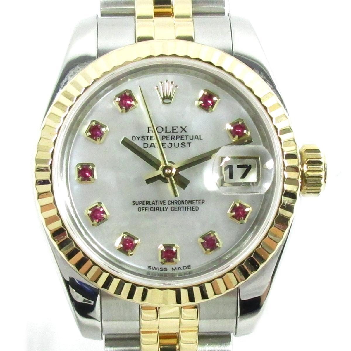 【中古】ロレックス デイトジャスト ウォッチ 腕時計 レディース K18YG(750)イエローゴールド X ステンレススチール(SS) X ルビー10P (179173NGR)