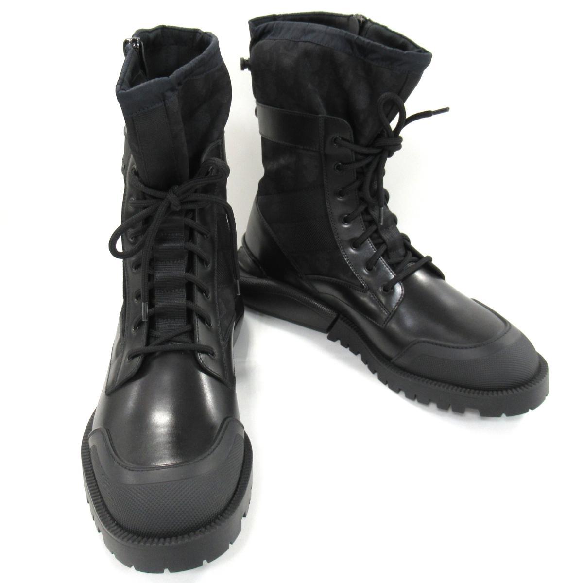 【中古】クリスチャン・ディオール コンバット・ハイトップブーツ 靴 メンズ レザーxラバー ブラック (3BO218YOF)
