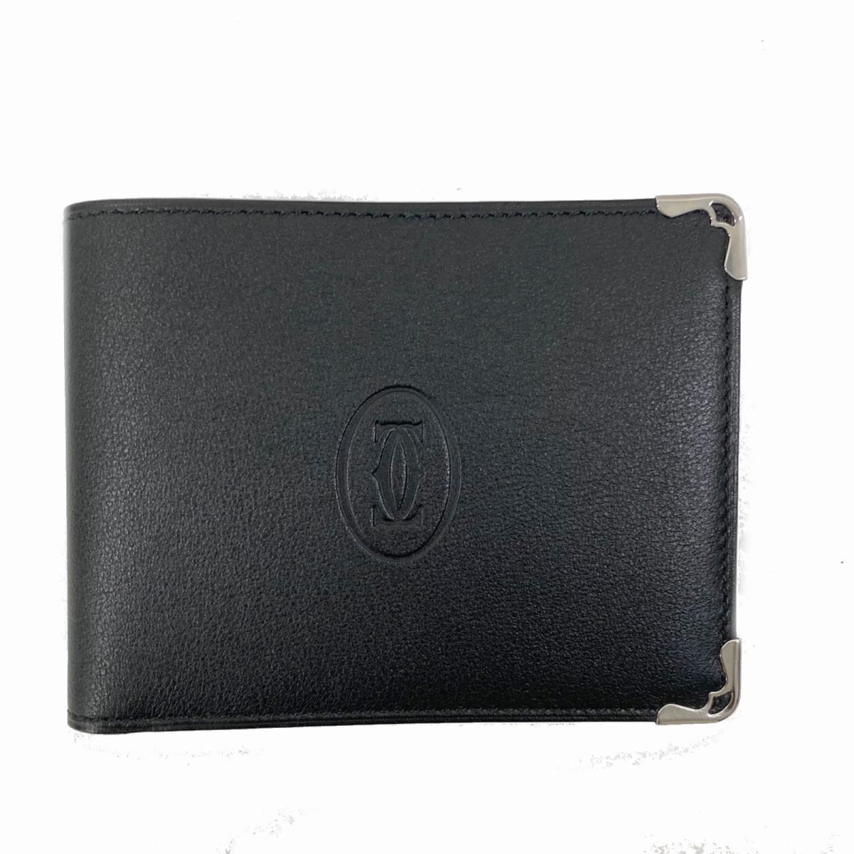 【中古】 カルティエ 二つ折札入れ 財布 メンズ レディース レザー ブラック | Cartier BRANDOFF ブランドオフ ブランド ブランド財布 メンズ財布 サイフ