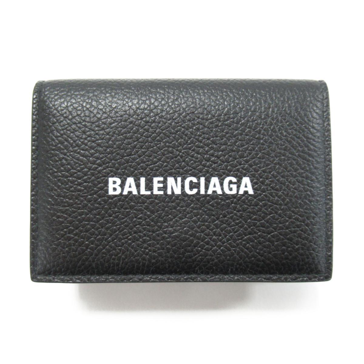 【中古】バレンシアガ 三つ折財布 ユニセックス レザー ブラック (594312 527545)