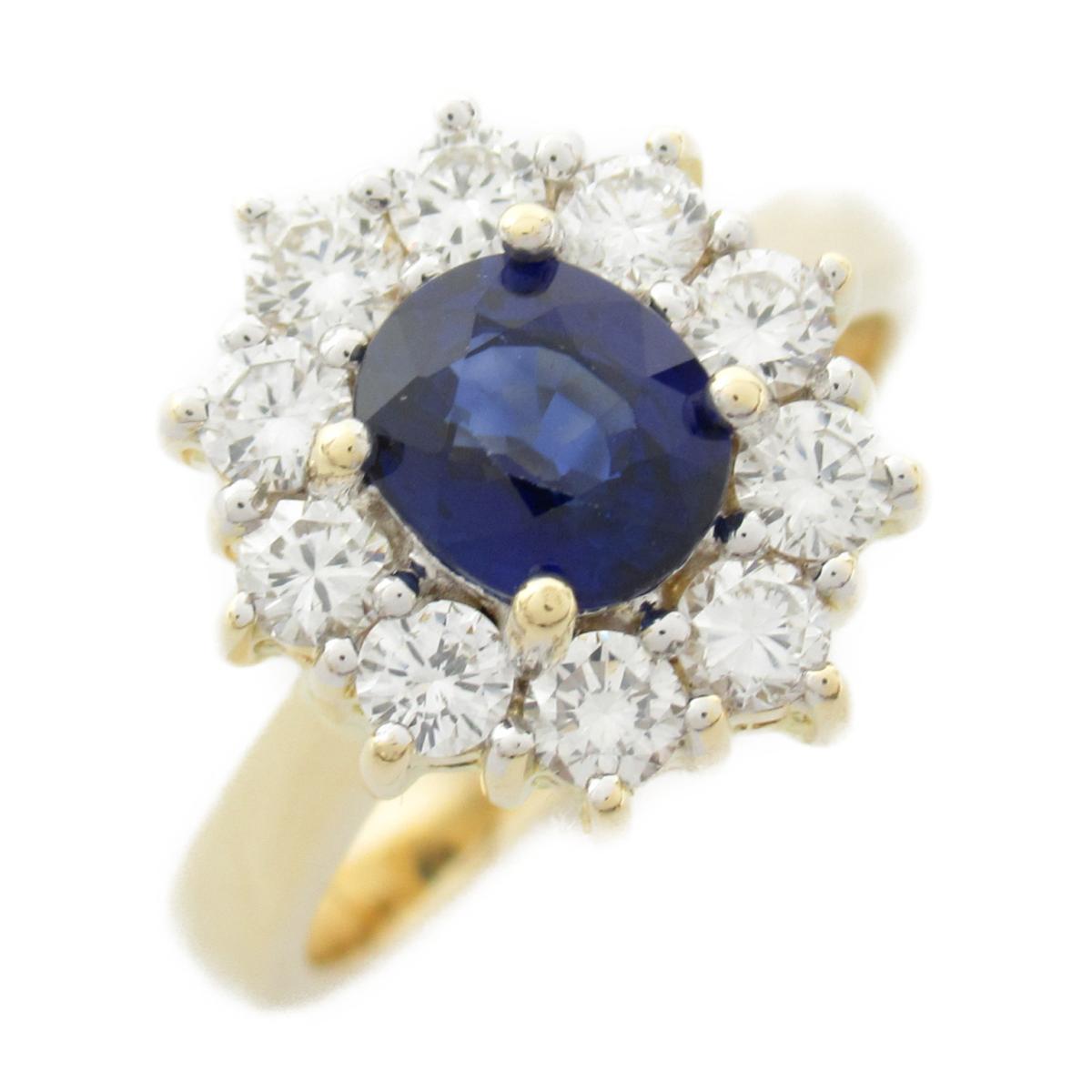 【中古】ジュエリー サファイア ダイヤモンド リング 指輪 ユニセックス 18kイエローゴールド x サファイア x ダイヤモンド
