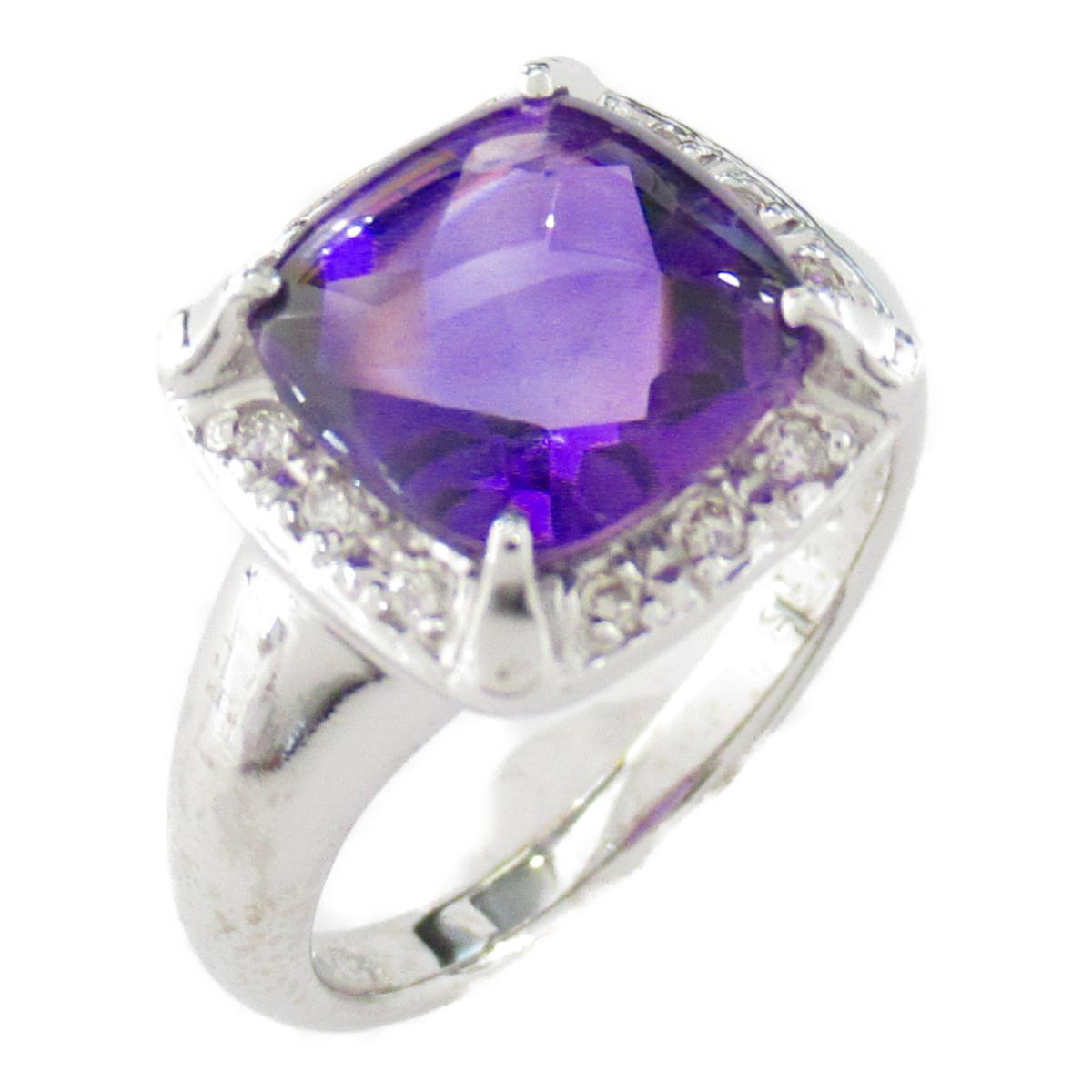 【中古】ジュエリー アメジスト ダイヤモンド リング 指輪 レディース アメジスト3.16/ダイヤモンド0.12ct x K18WG(ホワイトゴールド)