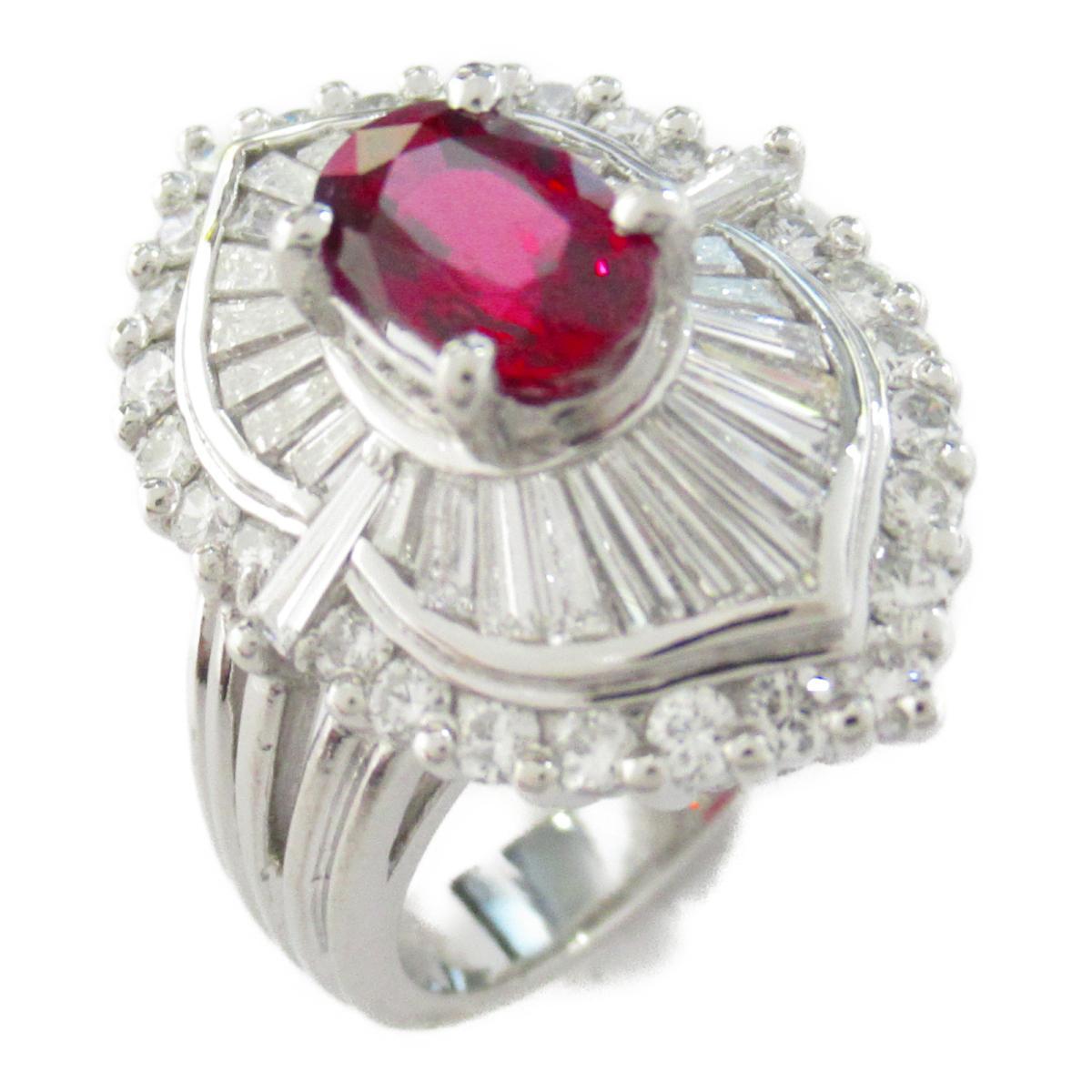 【中古】ジュエリー ルビー ダイヤモンド リング 指輪 レディース PT900 プラチナ x ルビー1.42/ダイヤモンド1.31ct