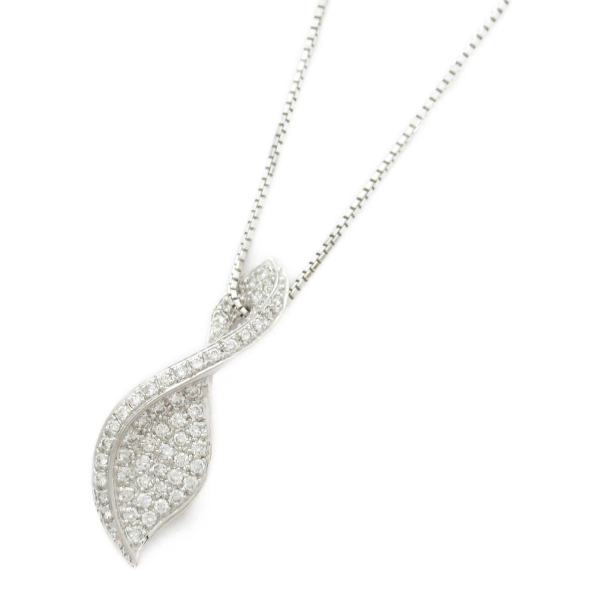 【中古】ジュエリー ダイヤモンド ネックレス レディース K18WG(750) ホワイトゴールド x 18Kホワイトゴールド x ダイヤモンド0.57CT