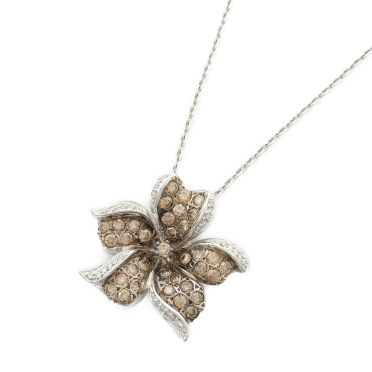 【中古】ジュエリー ダイヤモンド ネックレス レディース 18Kホワイトゴールド x ダイヤモンド1.25CT