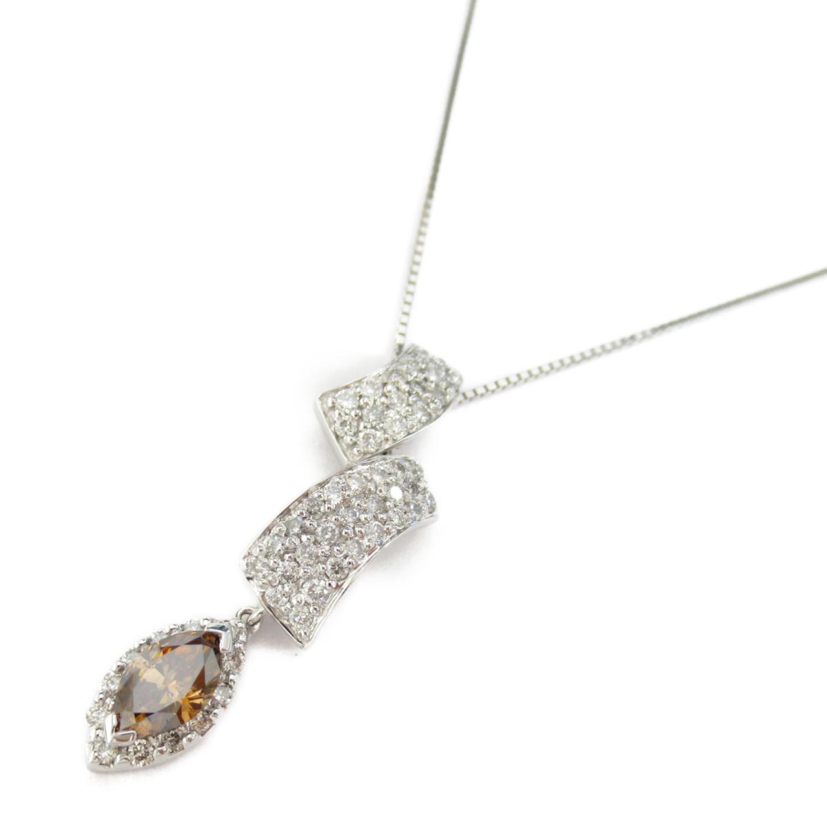 【中古】ジュエリー ダイヤモンド ネックレス レディース ダイヤモンド1.15ct x K18WG(ホワイトゴールド)