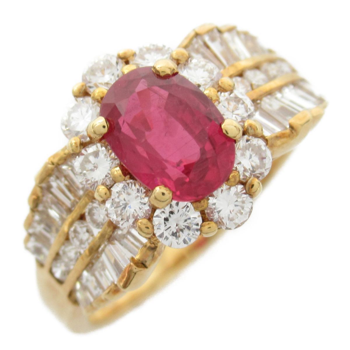 【中古】ジュエリー ルビー ダイヤモンド リング 指輪 ユニセックス 18Kイエローゴールド x ルビー1.19CT x ダイヤモンド1.11CT