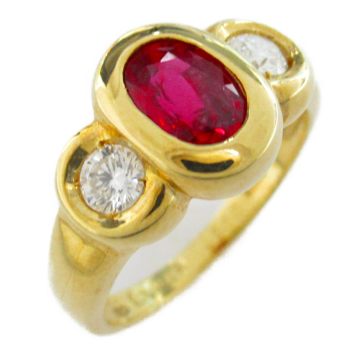 【中古】ジュエリー ルビー ダイヤモンド リング 指輪 レディース ルビー1.08/ダイヤモンド0.37ct x K18(イエローゴールド)