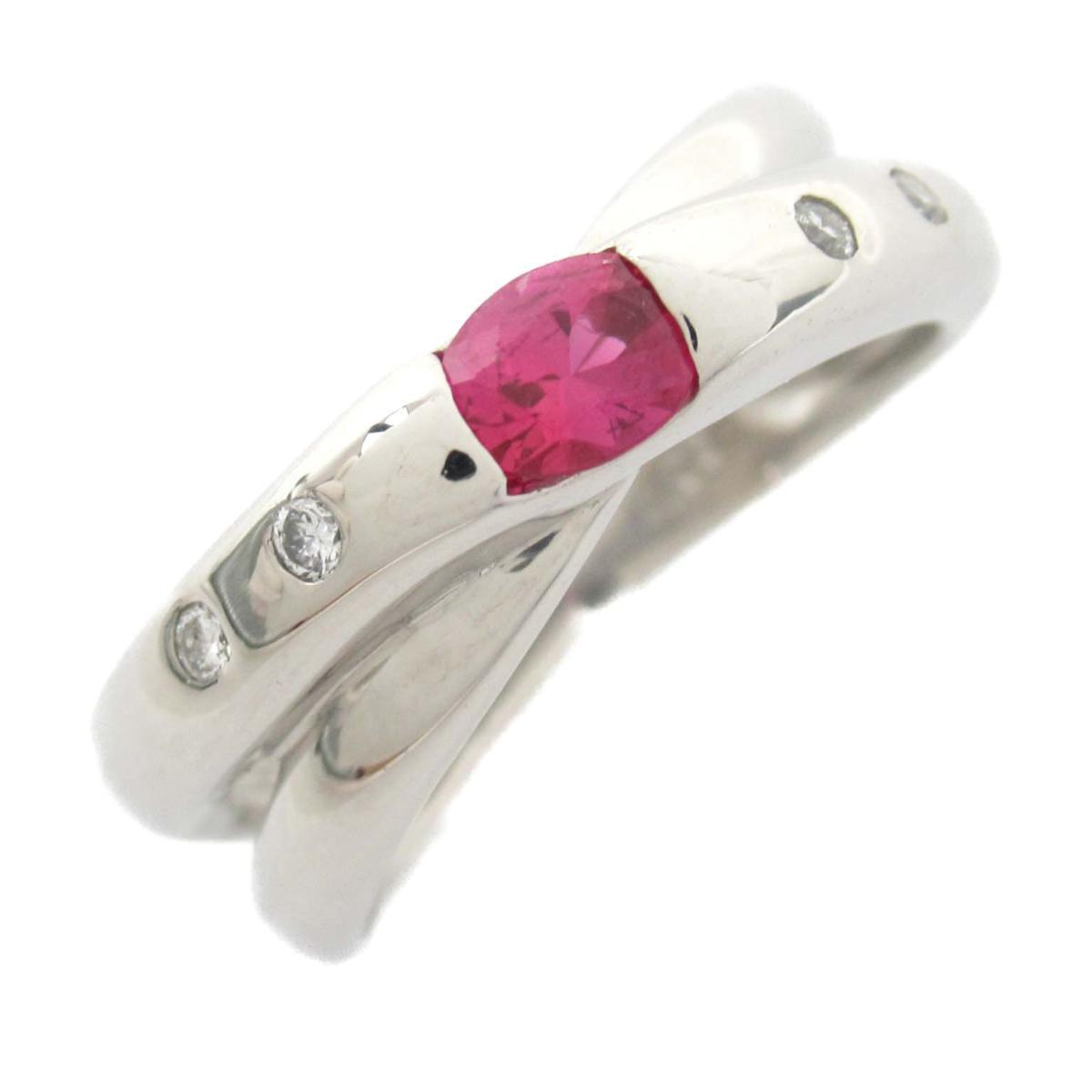 【中古】ジュエリー ルビー リング 指輪 レディース PT900 プラチナ x ルビー0.05CT