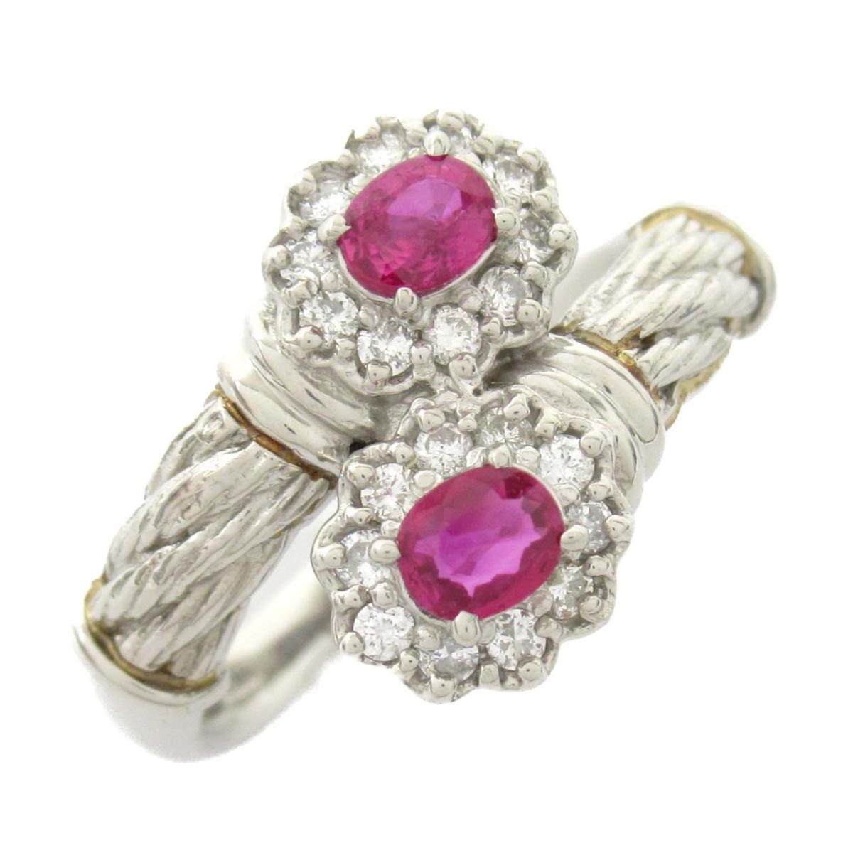 【中古】ジュエリー ルビー ダイヤモンド リング 指輪 レディース PT900 プラチナ x ルビー0.37CT x ダイヤモンド0.22CT