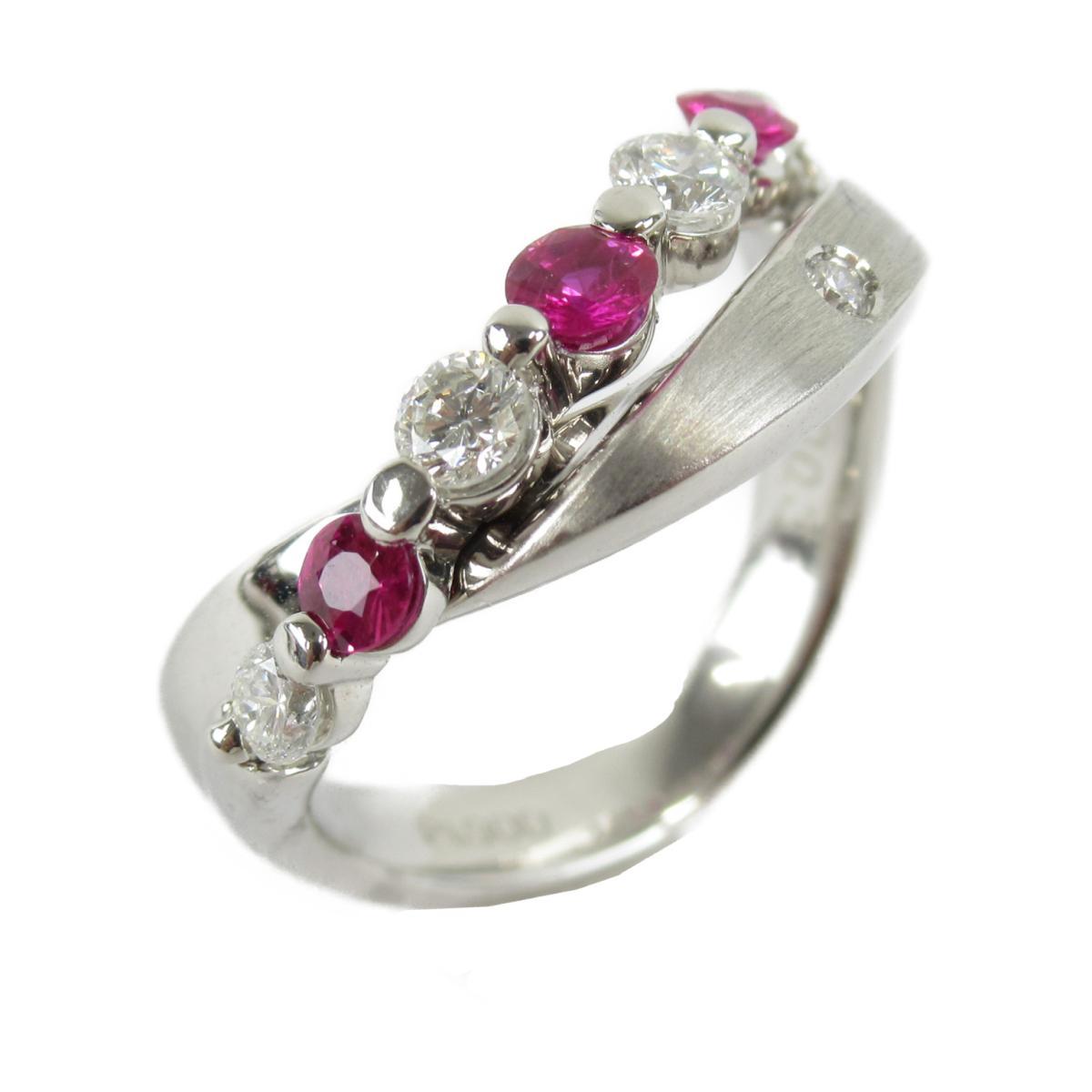 【中古】ジュエリー ルビー ダイヤモンド リング 指輪 ユニセックス PT900 プラチナルビー(0.30)xダイヤモンド(0.33ct)