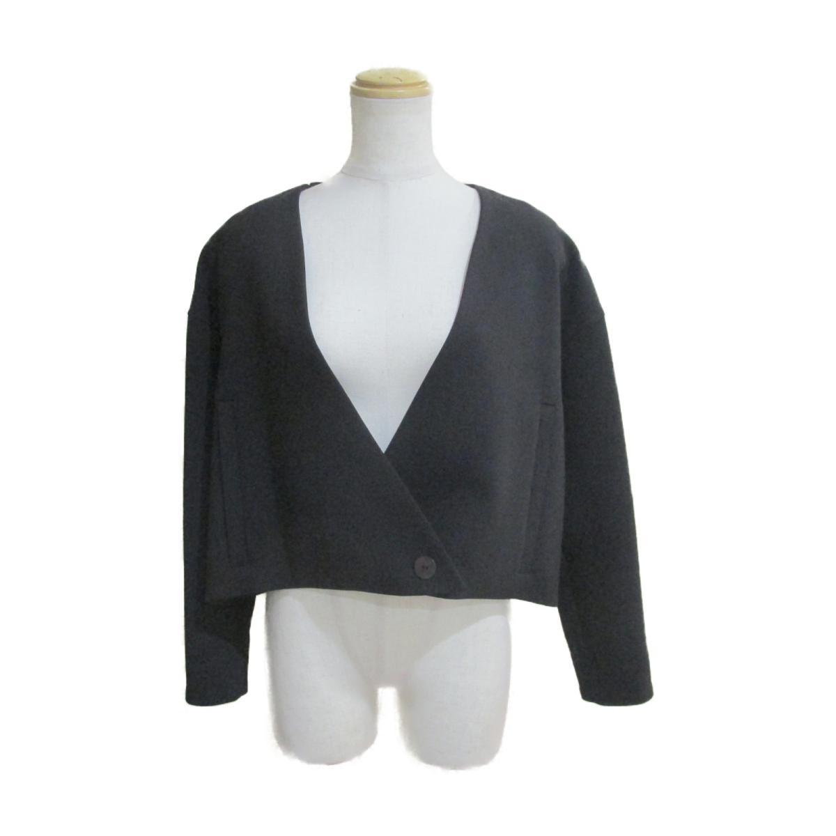 【中古】バレンシアガ ショート丈 ノーカラー ジャケット レディース 98%ウール×2%ポリウレタン ブラック