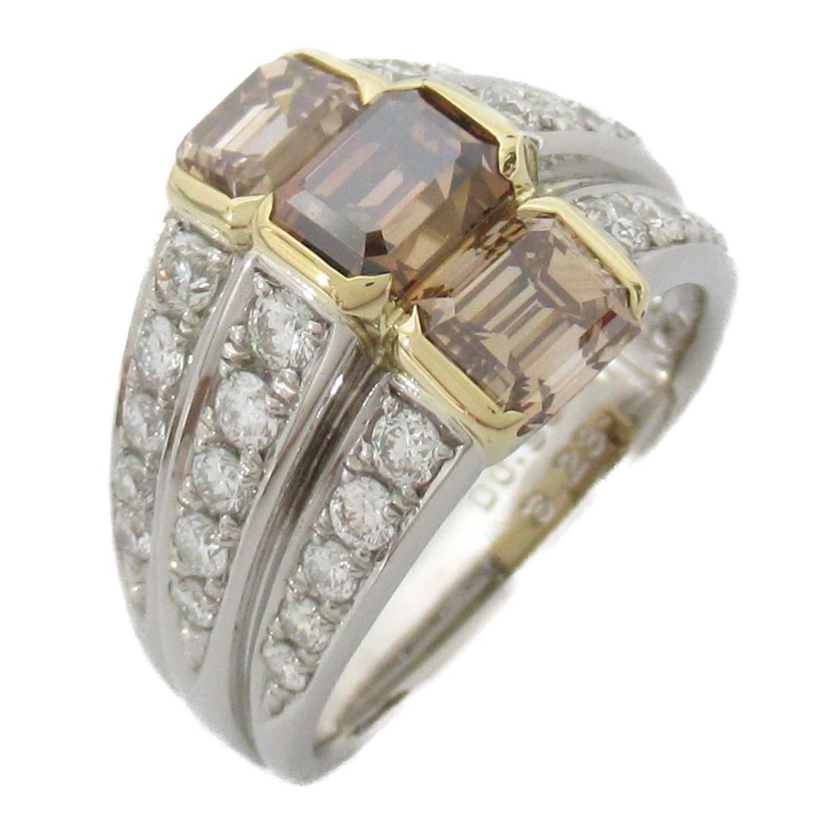 【中古】ジュエリー ダイヤモンド リング 指輪 レディース PT900 プラチナ x 18Kイエローゴールド x ダイヤモンド3.28/0.98CT