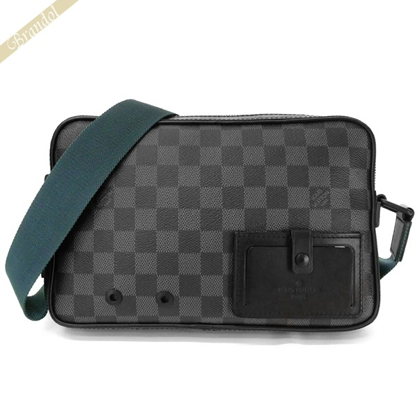 ルイヴィトン LOUIS VUITTON メンズ ショルダーバッグ ダミエ グラフィット キャンバス アルファ メッセンジャーバッグ ブラック系×ブルーグリーン N40188 | ブランド