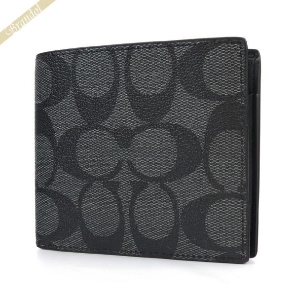 コーチ COACH 財布 メンズ 二つ折り財布 シグネチャー ブラック系 F75006 CQ/BK | コーチアウトレット コンビニ受取 ブランド