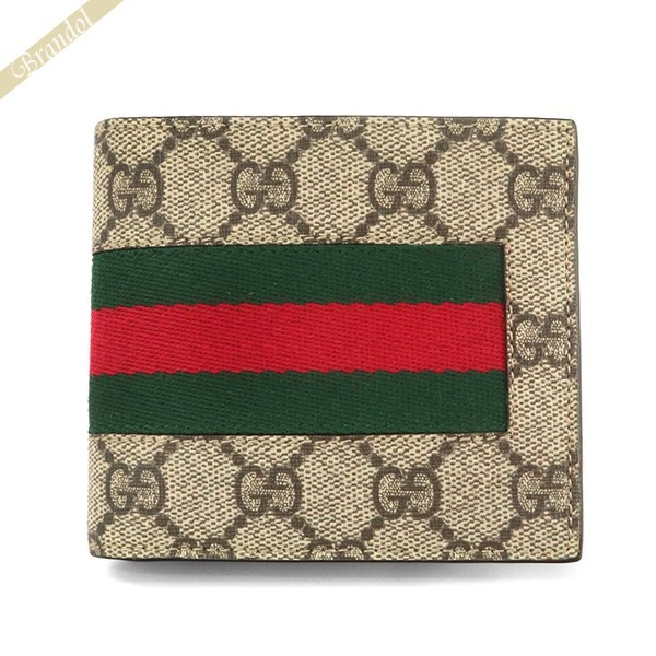 グッチ GUCCI 財布 メンズ 二つ折り財布 GGスプリーム リボンライン ベージュ系 408826 KHN4N 9791   ブランド