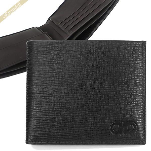 フェラガモ Ferragamo 財布 メンズ 二つ折り財布 ダブルガンチーニ ペブルレザー ブラック×ダークグレー 66 A065 0733323   コンビニ受取 ブランド
