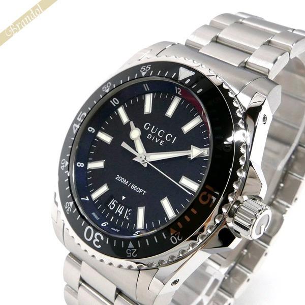 グッチ GUCCI メンズ腕時計 DIVE ダイブ 45mm ブラック×シルバー YA136212 | ブランド