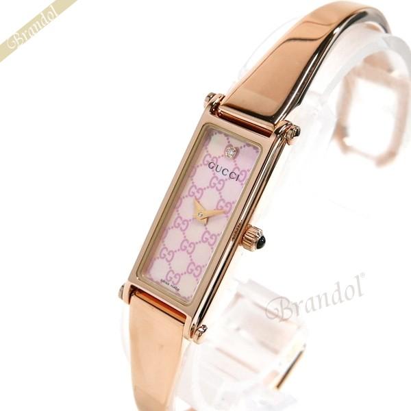 グッチ GUCCI レディース腕時計 1500 バングルウォッチ ダイヤモンド ピンクシェル×ローズゴールド YA015559 | ブランド
