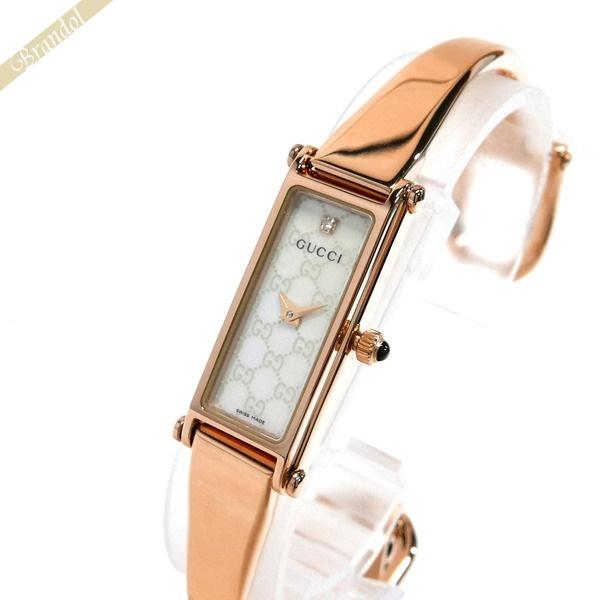 グッチ GUCCI レディース腕時計 1500 バングルウォッチ ダイヤモンド ホワイトシェル×ローズゴールド YA015560 | ブランド