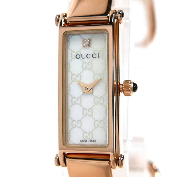 グッチ GUCCI レディース 腕時計 1500 バングルウォッチ ダイヤモンド ホワイトシェル×ローズゴールド YA015560 【ブランド】