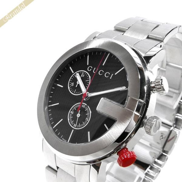 グッチ GUCCI メンズ腕時計 Gクロノ G-Chrono クロノグラフ 44mm ブラック×シルバー YA101361 【ブランド】