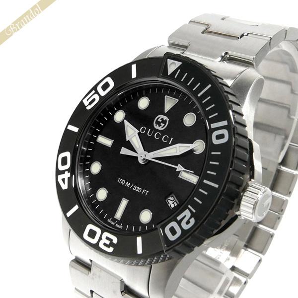 《1000円OFFクーポン対象_5月18日9:59迄》グッチ GUCCI メンズ腕時計 DIVER ダイバー 45mm ブラック×シルバー YA126279 | ブランド