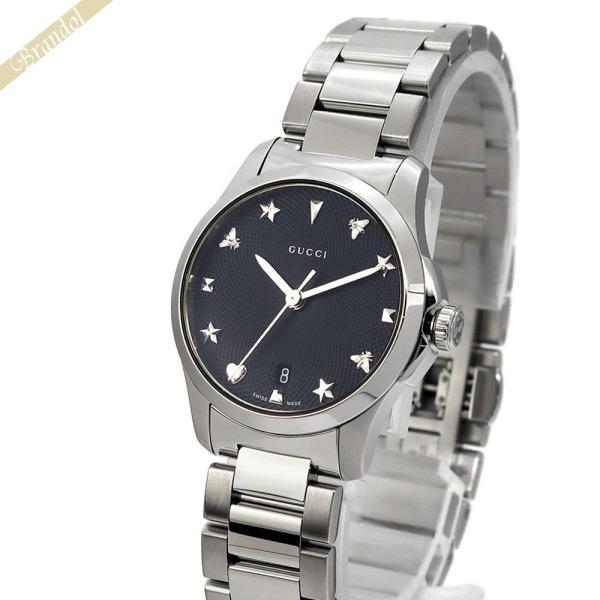 グッチ GUCCI レディース腕時計 Gタイムレス G-Timeless 27mm ブラック×シルバー YA126573   ブランド