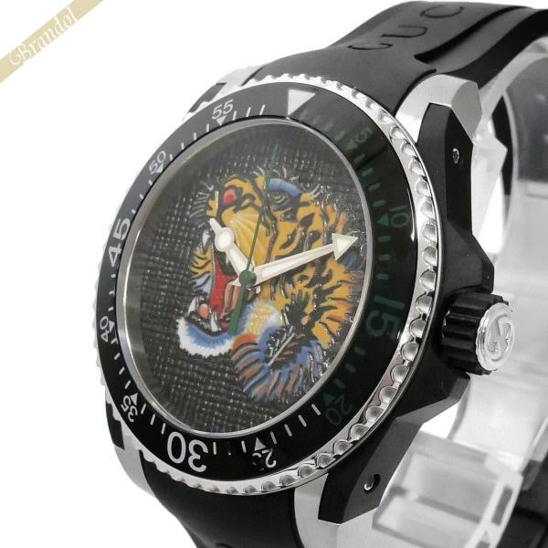 《1000円OFFクーポン対象_5月18日9:59迄》グッチ GUCCI メンズ腕時計 DIVE ダイブ タイガー トラモチーフ 42mm ブラック×グリーン YA136318 | ブランド