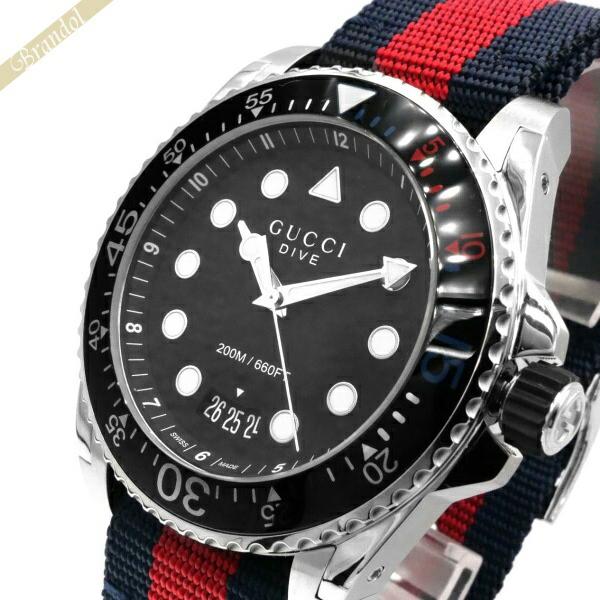 グッチ GUCCI メンズ腕時計 DIVE ダイブ 45mm ブラック×ネイビー×レッド YA136210 | ブランド