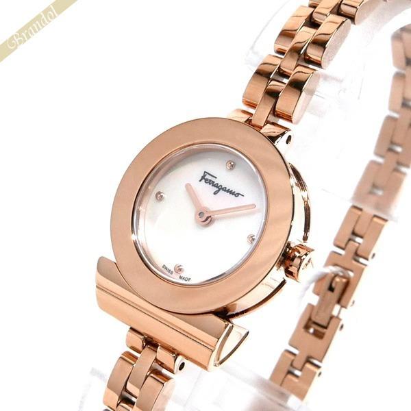 フェラガモ Ferragamo レディース 腕時計 Gancino ガンチーニ ブレスレット 23mm ホワイトパール×ピンクゴールド FBF080017 | ブランド