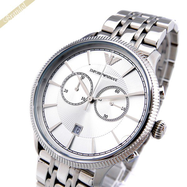 エンポリオアルマーニ EMPORIO ARMANI メンズ腕時計 クラシック クロノグラフ 43mm シルバー AR1796 | コンビニ受取 ブランド