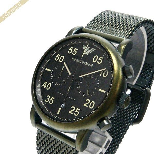 エンポリオアルマーニ EMPORIO ARMANI メンズ腕時計 LUIGI ルイージ クロノグラフ 43mm ブラック×カーキ AR11115 | コンビニ受取 ブランド