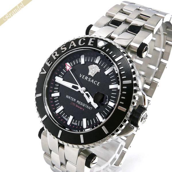 ヴェルサーチ VERSACE メンズ腕時計 Vレース ダイバー 46mm ブラック×シルバー VAK030016 | ブランド