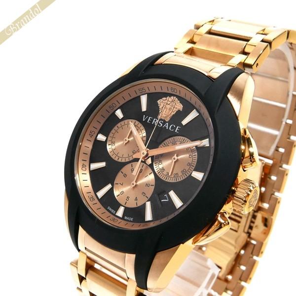 ヴェルサーチ VERSACE メンズ腕時計 キャラクタークロノ 42mm ブラック×ローズゴールド VEM800318 【ブランド】