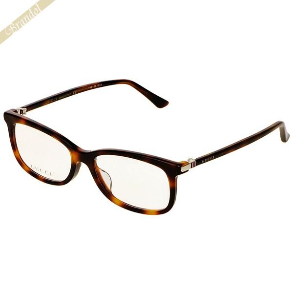 グッチ GUCCI メンズ メガネフレーム スクエア型 セルフレーム アジアンフィットモデル ハバナ柄 ブラウン系 GG0296OA-003 | コンビニ受取 ブランド