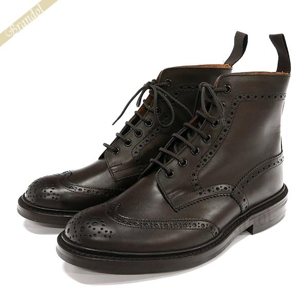 トリッカーズ Tricker's メンズ カントリーブーツ ストウ STOW ウィングチップ 本革 ビジネスシューズ [24.5cm/25.0cm/25.5cm/26.0cm/26.5cm/27.0cm] ダークブラウン 5634-10 | ブランド
