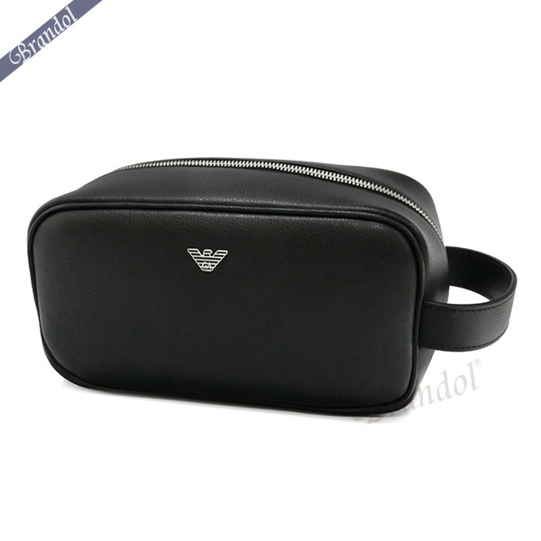 エンポリオアルマーニ メンズ セカンドバッグ レザー クラッチバッグ ブラック Y4R159 YAQ2E 81072