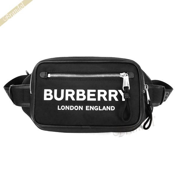 バーバリー メンズ ボディバッグ ロゴ プリント バムバッグ ブラック 8021089